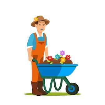 Jardinier avec illustration vectorielle de brouette