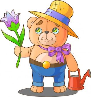 Jardinier ours en peluche
