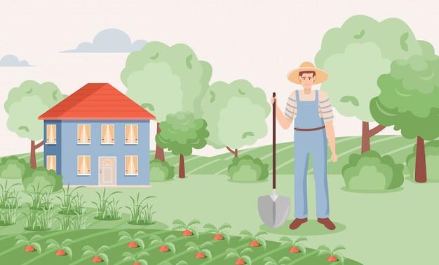 Jardinier poussant la carotte dans l'illustration du jardin. homme avec pelle debout sur la ferme.