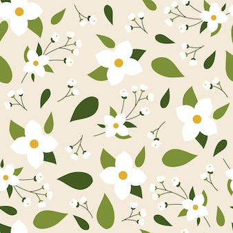 Jasmine seamless pattern floral printemps