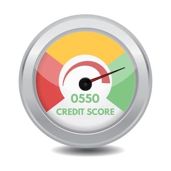 Jauges de pointage de crédit. concept minimum et maximum. illustration.
