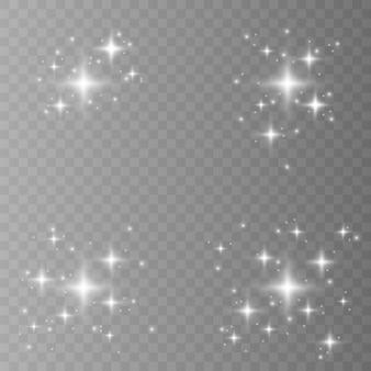 Jaune, blanc, or, orange scintille de symboles. l'ensemble de l'icône d'étincelle d'étoiles originales. feu d'artifice lumineux, scintillement de décoration, flash brillant.