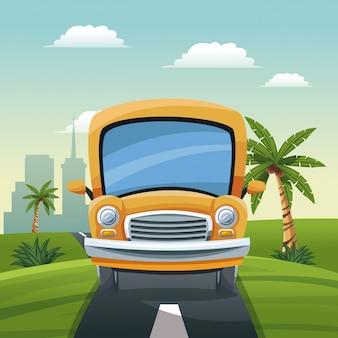 Jaune bus voyage vacances route paysage ville fond