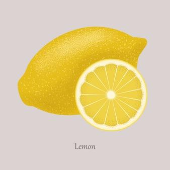Jaune citron frais et tranche de citron, icône isolé sur gris.