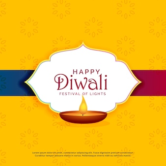 Jaune diwali happy greeting design avec diya
