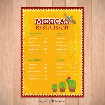 Jaune modèle de menu mexicain de cactus