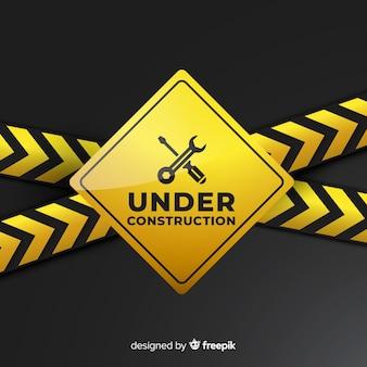 Jaune sous construction signe réaliste