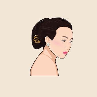 Javanais femmes femmes lady cheveux