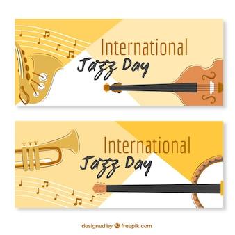 Jazz bannières de jour avec des instruments de musique