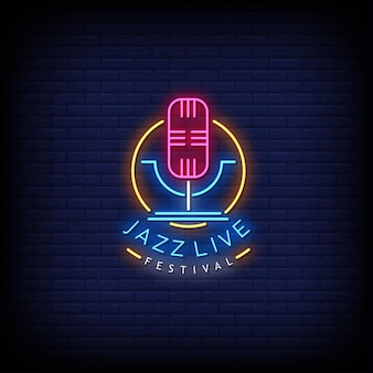 Jazz live festival neon signs style texte