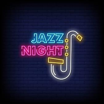Jazz night neon signs style texte vecteur