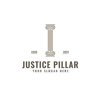 Je lettre logo justice et cabinet d'avocats pilier bold professional line art