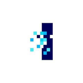 Je lettre pixel mark digital 8 bit logo vector icon illustration