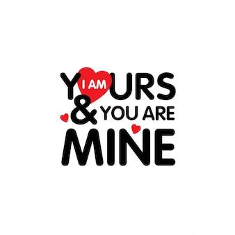 Je suis à toi tu es à moi typographique