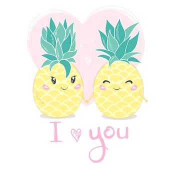 Je t'aime. ananas, personnage mignon pour votre conception