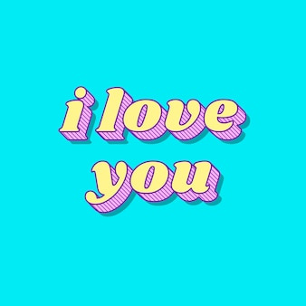 Je t'aime calligraphie audacieuse funky