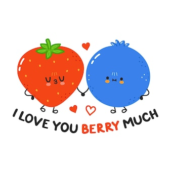Je t'aime carte avec de jolies myrtilles et fraises heureuses