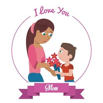 Je t'aime carte de maman
