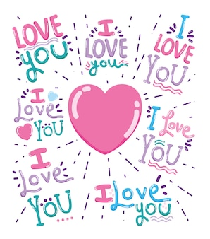 Je t'aime carte message dessins animés mignons design vector illustration graphisme