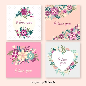 Je t'aime cartes florales