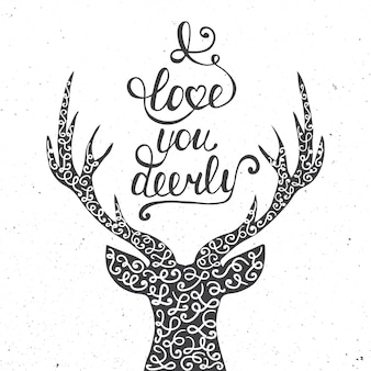 Je t'aime cerf isolé sur blanc