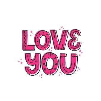 Je t'aime citation de griffonnage en rose. lettrage vectoriel dessiné à la main pour impression, carte, affiche. concept de la saint-valentin heureuse.