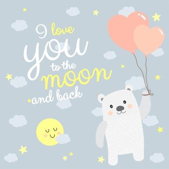 Je t'aime à la citation de la lune et du dos