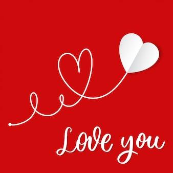 Je t'aime. coeur de papier blanc dessiné à la main avec le vecteur de lettrage.