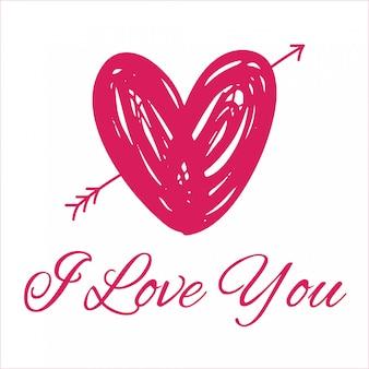 Je t'aime avec coeur rose pour la saint valentin
