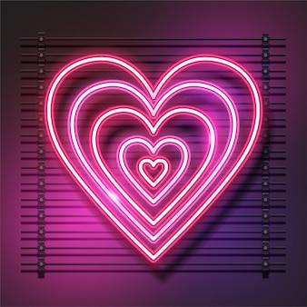 Je t'aime, conception de coeur néon