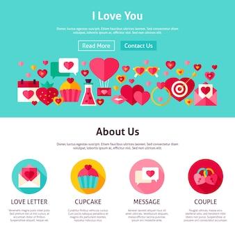 Je t'aime conception de site web. illustration vectorielle de style plat pour la bannière web et la page de destination. joyeuses fêtes de la saint-valentin.