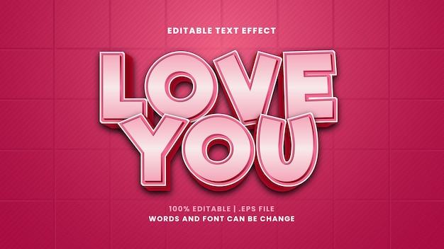 Je t'aime effet de texte modifiable dans un style 3d moderne