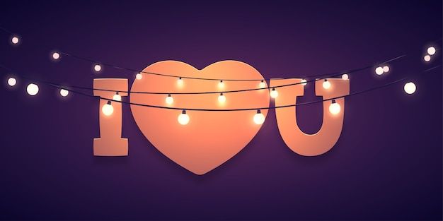 Je t'aime avec la forme du coeur et les lumières sur fond sombre. modèle de la saint-valentin
