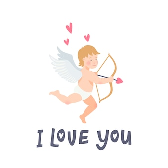 Je t'aime inscription et ange sur fond blanc.