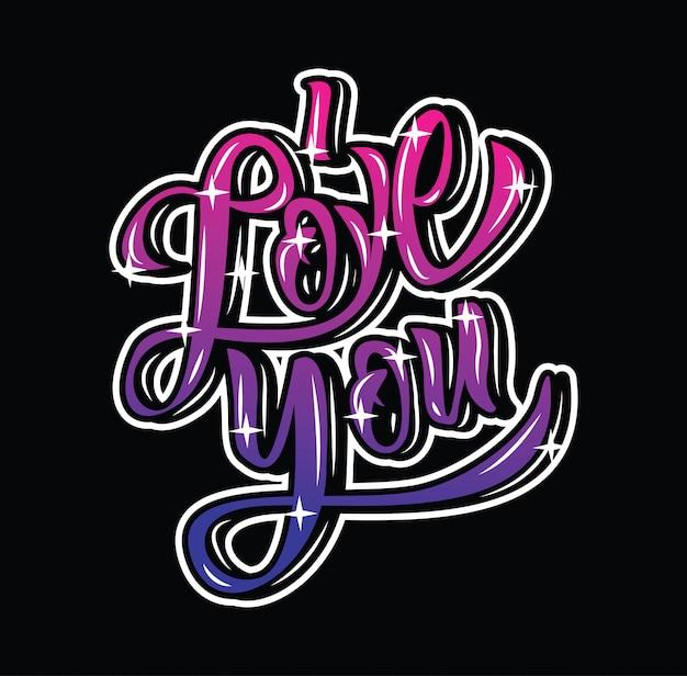 Je t'aime inspiration citation typographie