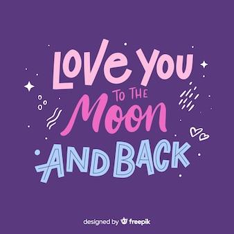 Je t'aime jusqu'à la lune et les lettres en arrière