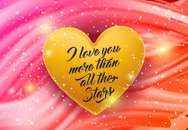 Je t'aime lettrage sur le coeur d'or