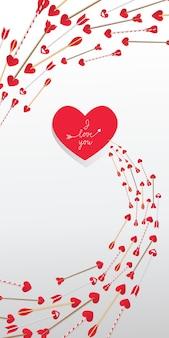 Je t'aime lettrage dans le coeur rouge et les flèches dans le tourbillon