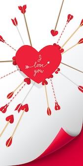 Je t'aime lettrage dans le coeur rouge avec des flèches le percer