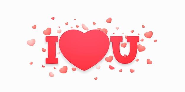 Je t'aime lettrage avec du papier en forme de coeur pour la saint-valentin, les cartes de voeux de la fête des mères ou la confession d'amour