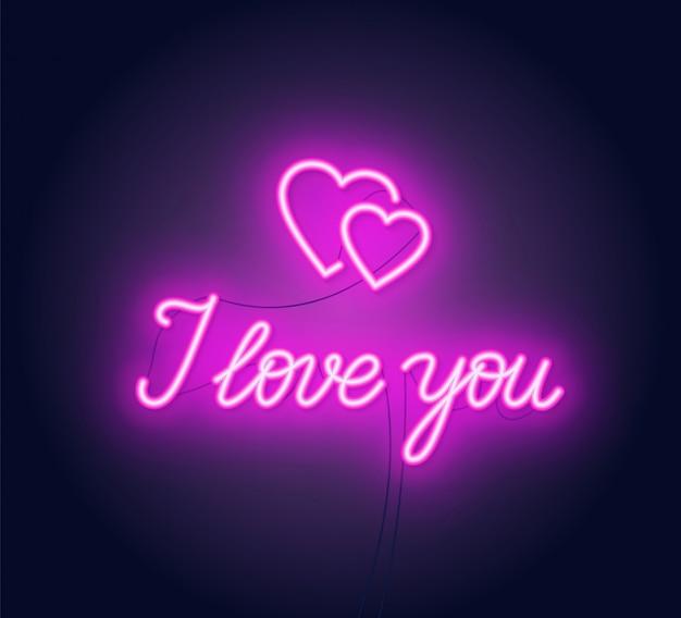 Je t'aime lettrage néon. signe du coeur.
