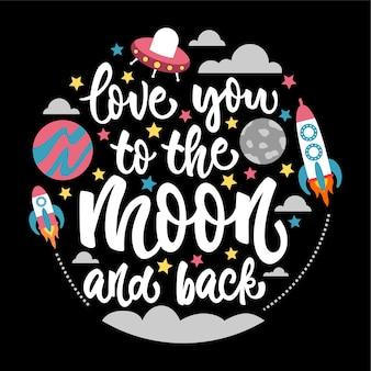 Je t'aime à la lune et retour carte de lettrage