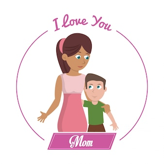 Je t'aime maman carte femme et fils