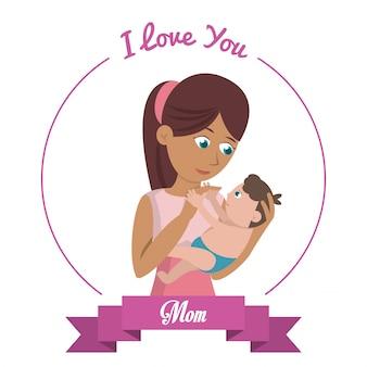 Je t'aime maman carte femme porte bébé