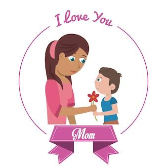 Je t'aime maman carte fils donnant des fleurs