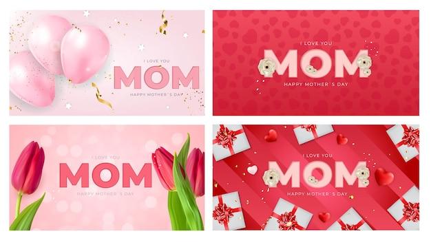 Je t'aime maman. collection de cartes de voeux bonne fête des mères