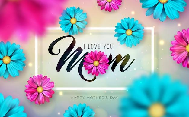 Je t'aime maman. conception de carte de voeux de bonne fête des mères avec chute de fleurs colorées et lettre de typographie