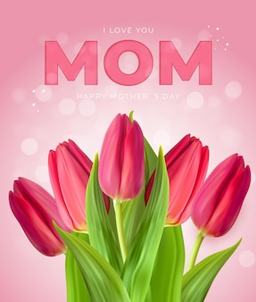 Je t'aime maman. fond de fête des mères heureux avec des tulipes