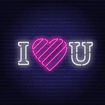 Je t'aime néon. signe du coeur.