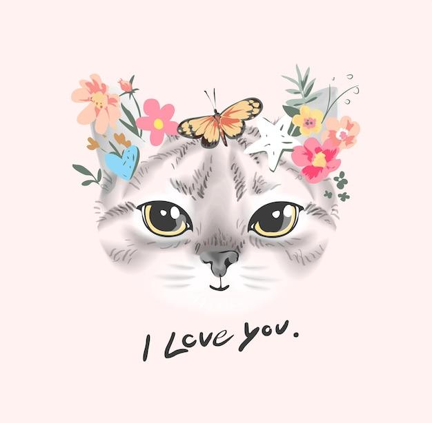 Je t'aime slogan avec un joli visage de chat avec une illustration de fleurs colorées